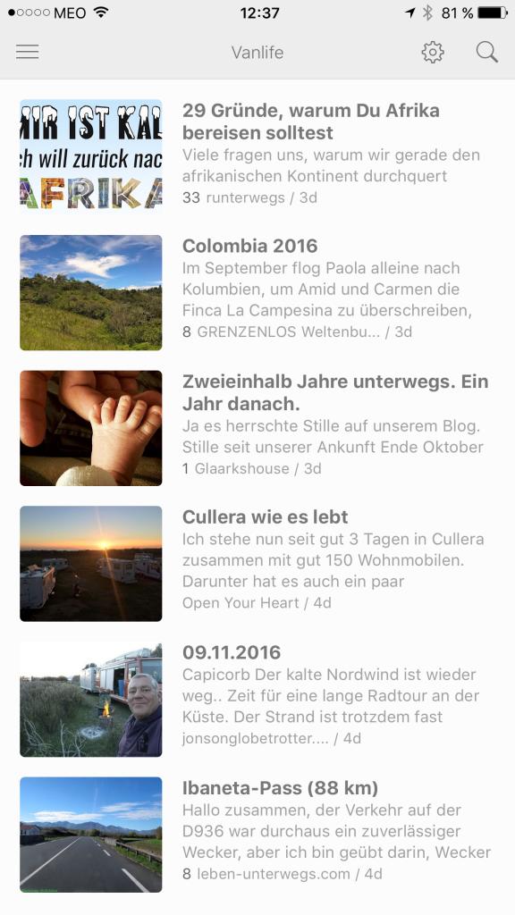 Alle Blogs, denen ich folge, in einer App am Handy lesen.